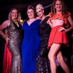 Mae de la Rue, Millie Devine, Scarlet Tinkabelle, and Hanna Illingworth on stage at the conclusion of Burlesque Idol Darwin 2020